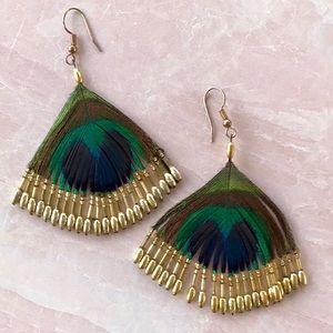 Peacock Feather Fan Earrings